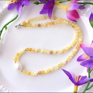 Yellow Opal And Freshwater Pearl Necklace